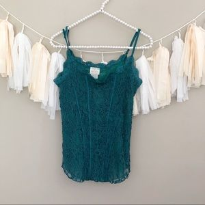 NEW Free People Lace Cami Teal Blue Tank Top